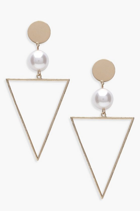 Womens Gold Pearl And Triangle Geo Earrings