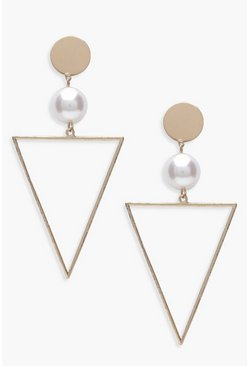 Pearl And Triangle Geo Earrings, Gold, MUJER