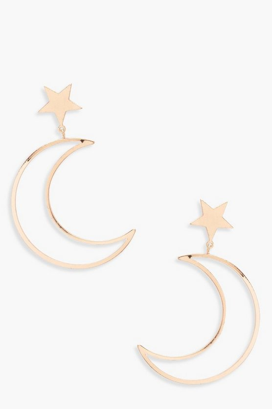 Womens Gold Moon And Star Earrings