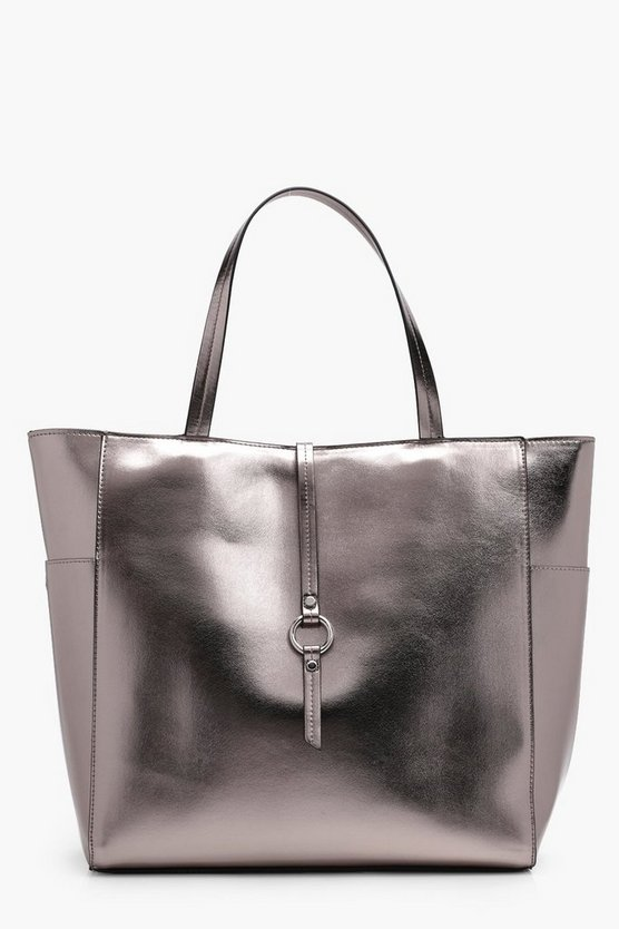 Metallic Winged Tote Bag, Pewter, DAMEN