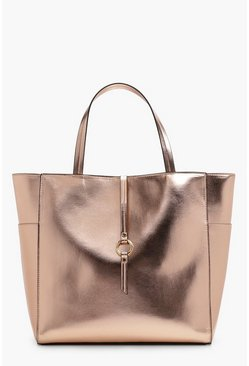 Womens Rose gold Metallic Winged Tote Bag