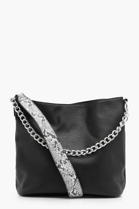 Faux Snake strap slouch day bag