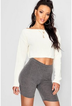 Cream Crop Slash Neck Sweater