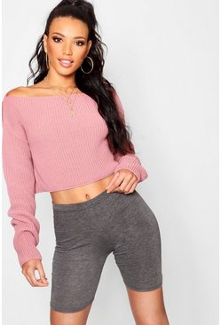 Rose Crop Slash Neck Sweater