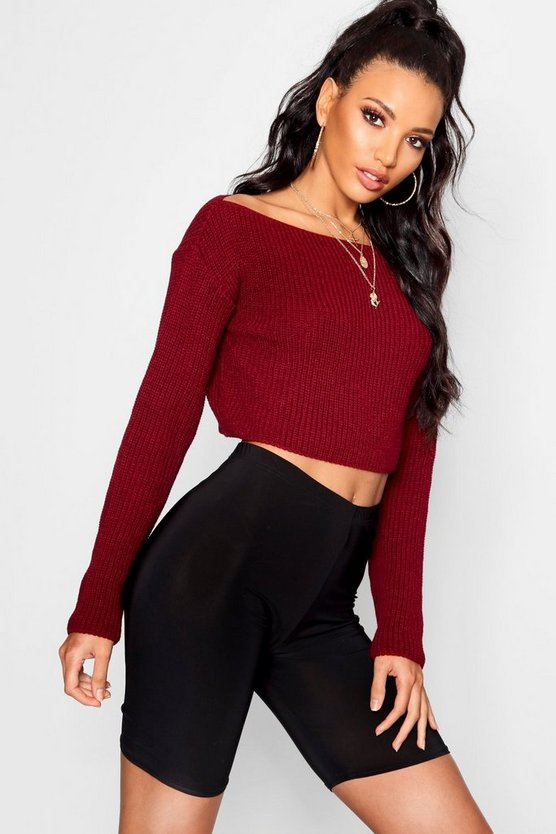 Crop Slash Neck Jumper