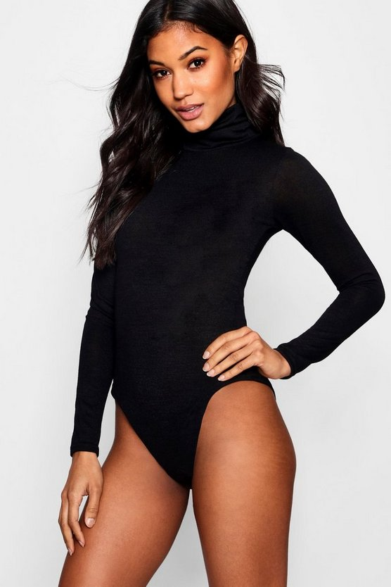 Black Marl Knit Roll Neck Bodysuit