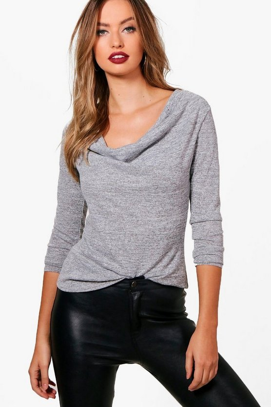 Emily Cowl Neck Knitted Top