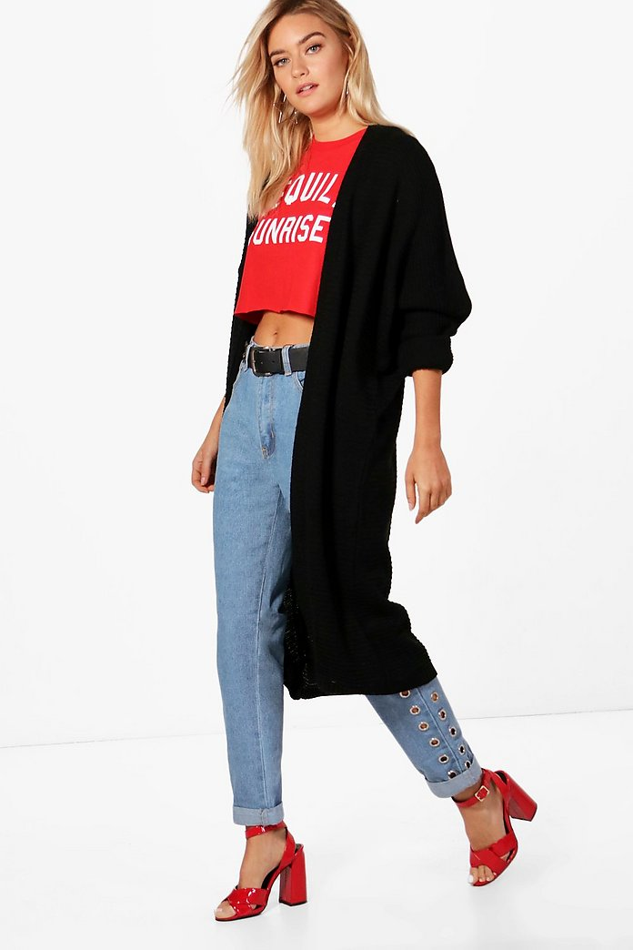 Black Batwing Oversized Knitted Cardigan