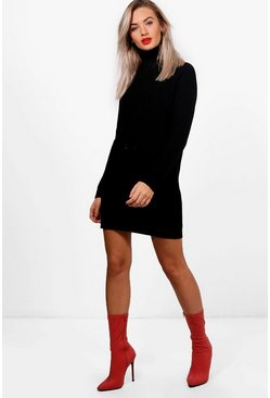 Womens Black Roll Neck Cable Detail Dress