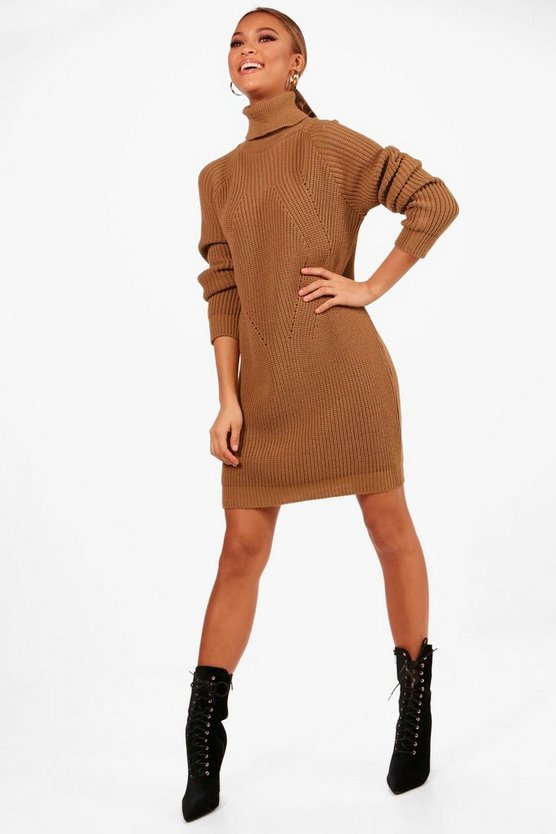 Womens Camel Roll Neck Cable Detail Dress