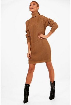 Roll Neck Cable Detail Dress, Camel, Donna