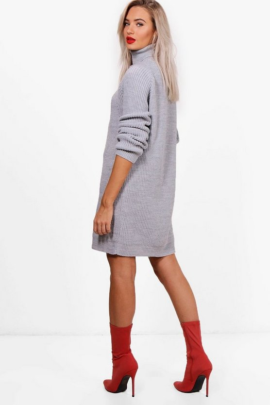 Roll Neck Cable Detail Dress