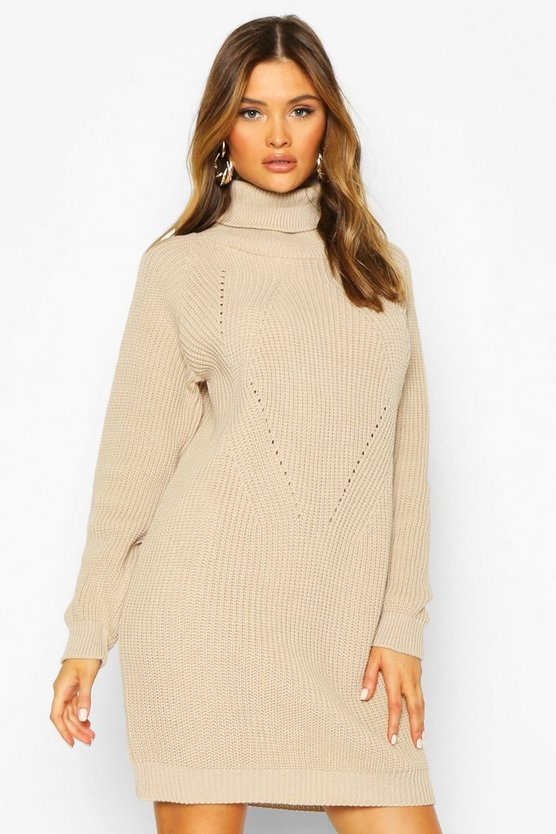 Stone Roll Neck Cable Detail Dress