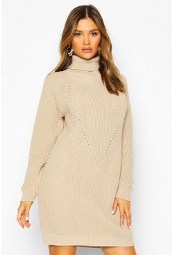 Roll Neck Cable Detail Dress, Stone, Donna