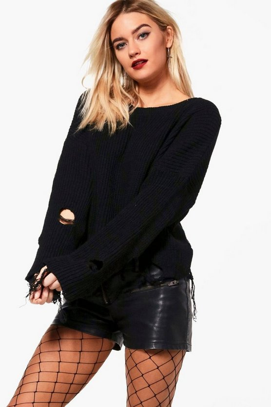 Distressed Hem Crop Jumper