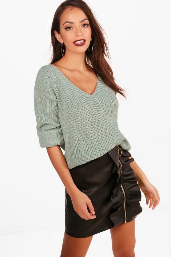 V Neck Crop Jumper