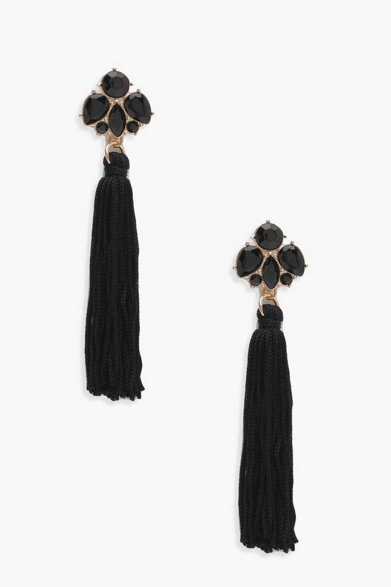 Black Floral Gem Tassel Earrings