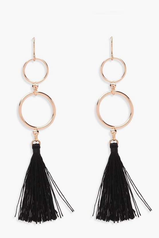 Womens Black Double Circle Tassel Earrings