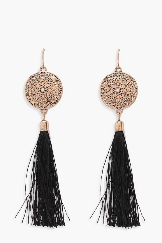 Engraved Disc Tassel Earrings