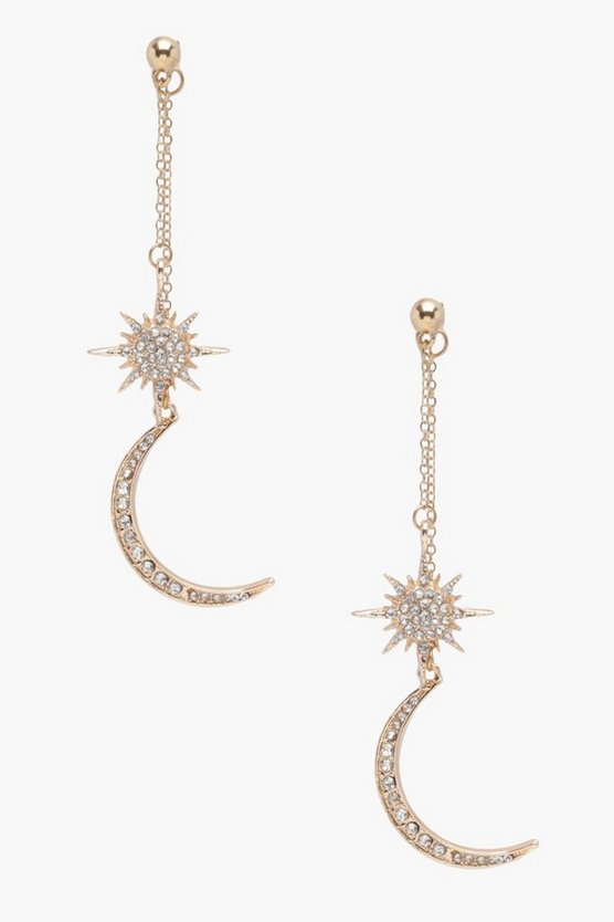 Amber Moon And Star Statement Drop Earrings