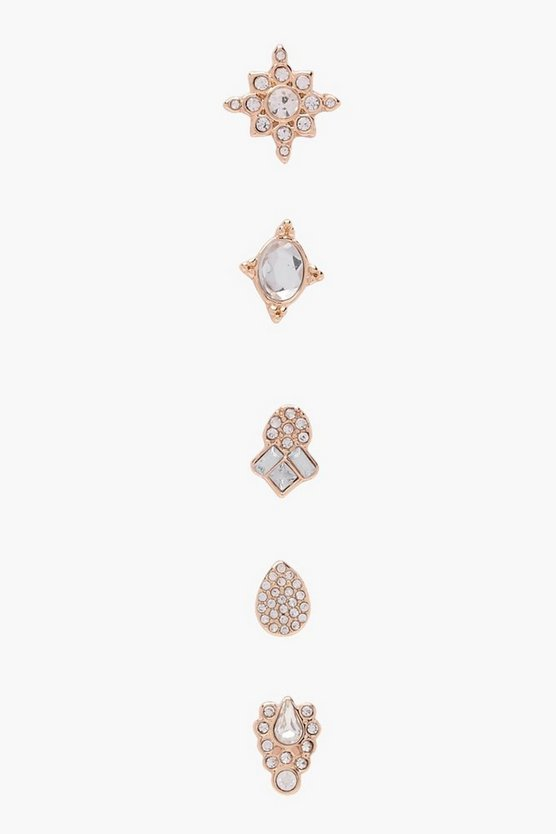 Maisy Statement Diamante Stud Mixed 5 Pack
