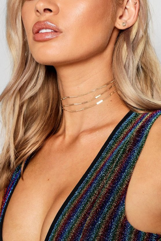 Womens Gold Delicate Layered Chain Choker