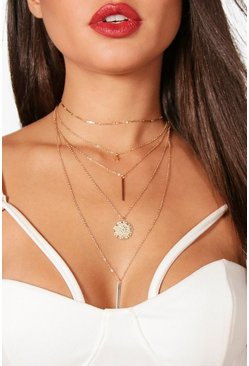 Womens Gold Layered Coin & Bar Chain Choker Necklace