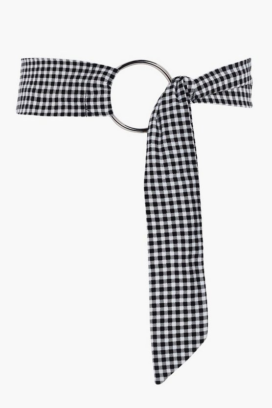Jess Gingham Fabric D-Ring Fasten Belt