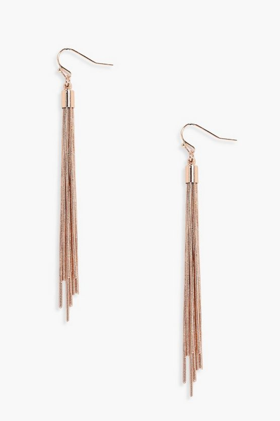 Womens Gold Long Chain Tassel Earrings