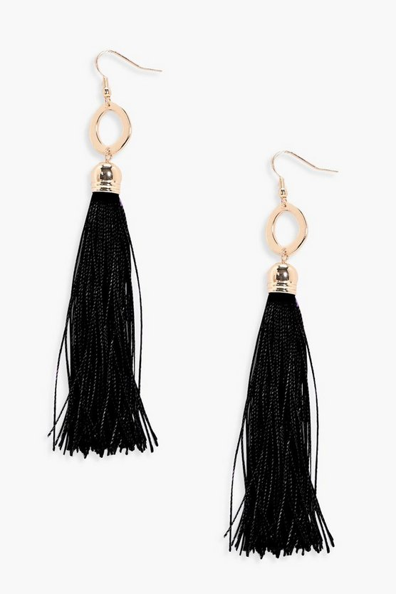 Samantha Ring Detail Tassel Earrings