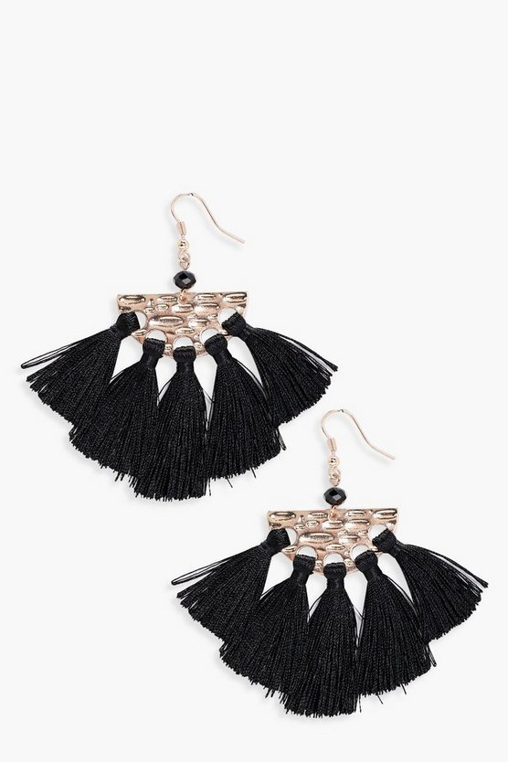 Naomi Hammered Half Moon Plate Tassel Earrings