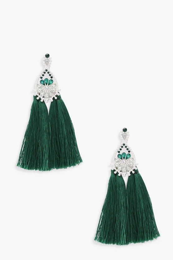 Embellished Diamante Tassel Earrings
