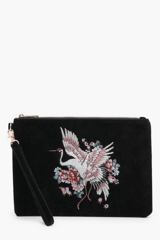 Jenna Oriental Embroidered Velvet Clutch Bag
