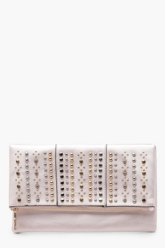 Womens Pearl Stud Flap Clutch Bag