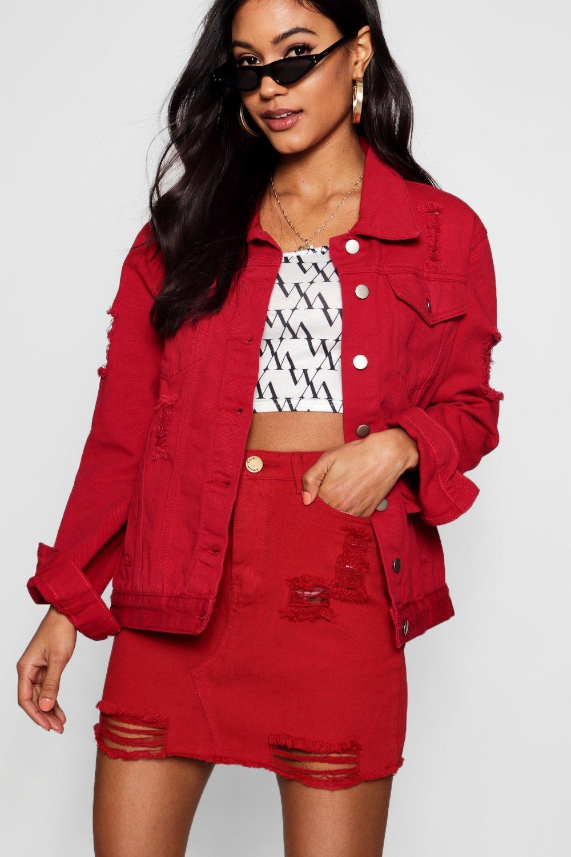 Denim red Skirt Mini Distressed Red P70nHav0