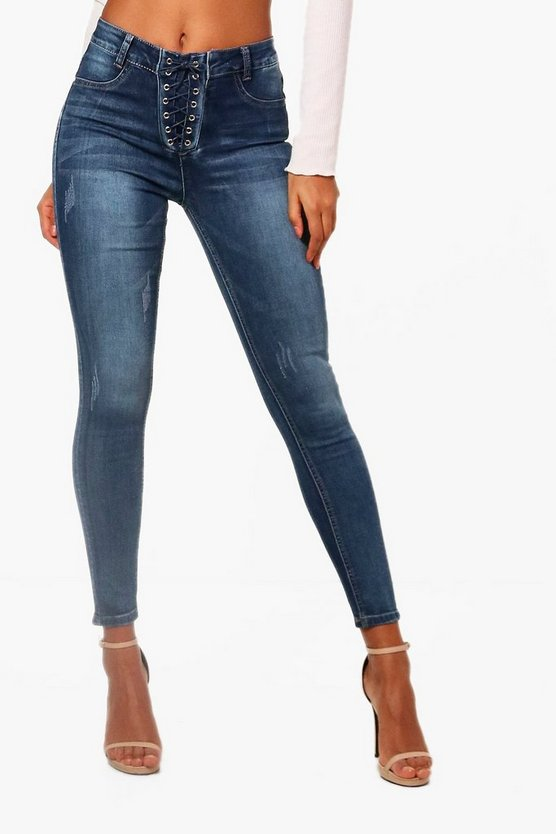 Womens Mid blue Corset Lace Up High Waist Skinny Jeans
