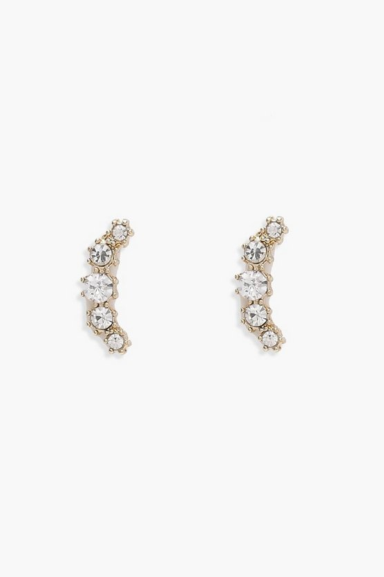 Womens Gold Diamante Ear Cuff Set