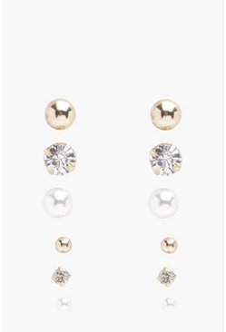 Gold Diamante And Pearl Stud 6 Pack