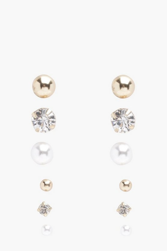 Womens Gold Diamante And Pearl Stud 6 Pack