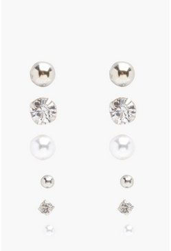 Diamante And Pearl Stud 6 Pack, Silver, Donna