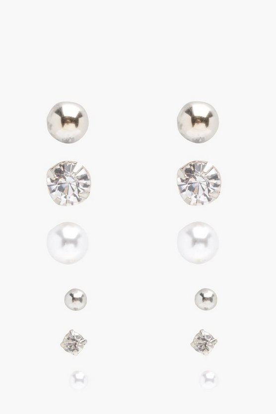 Womens Silver Diamante And Pearl Stud 6 Pack