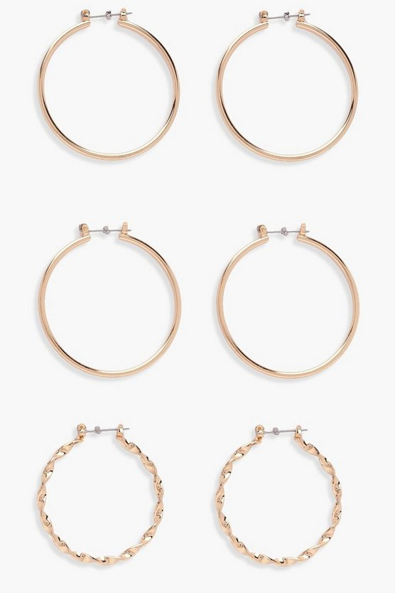 Abbie Twisted And Plain Mixed Hoop 3 Pack