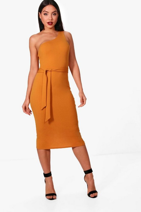 One Shoulder Bow Detail Midi Dress