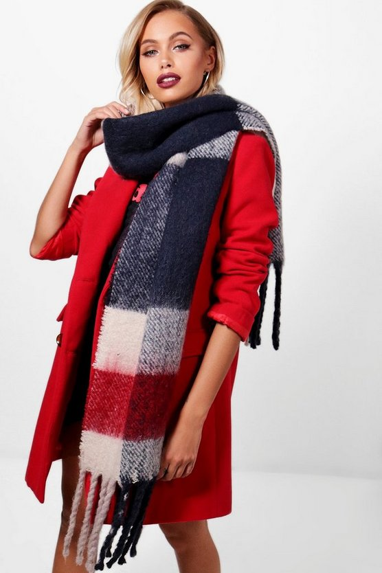 Brushed Chunky Check Scarf