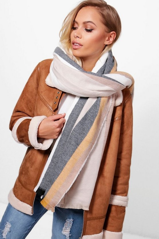 Stripe Oversize Woven Scarf