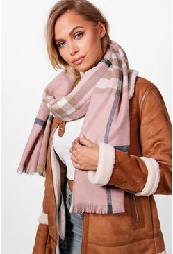 Womens Nude Check Scarf