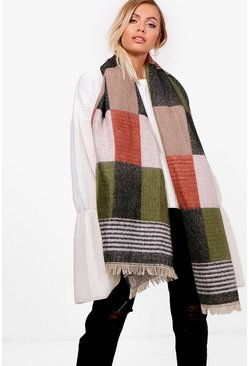 Womens Rust Oversized Block Panel Scarf