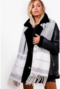 Womens Grey Striped Woven Scarf