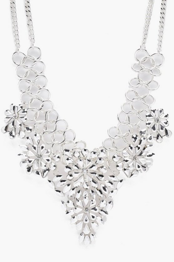 Louise Statement Diamante Floral Necklace