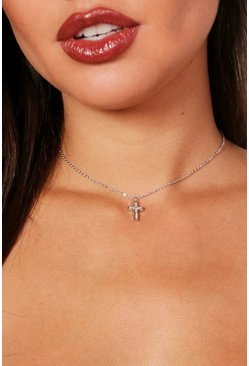 Womens Silver Diamante Cross Chain Choker